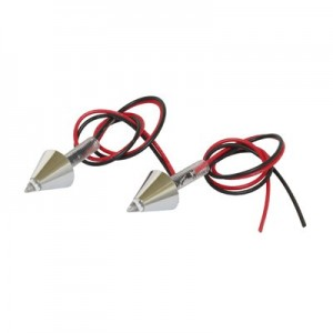 Feu Eclairage de Plaque Led Conique Chrome Ø 4mm (1 LED Rouge) - Paire